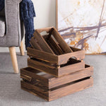 Nesting Rustic Brown Wood Storage & Accent Crates, Set of 3 - MyGift Enterprise LLC
