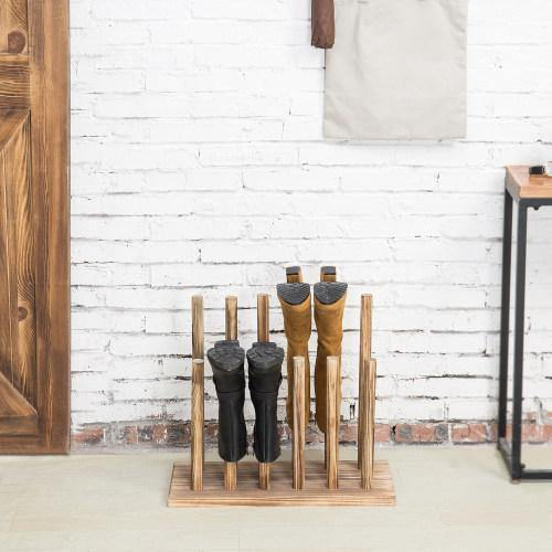 Dark Brown Wood Boot Storage Rack, For 6 Pairs
