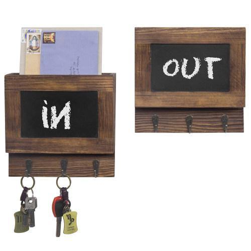 Dark Brown Wood Mail Sorter with Chalkboard Surface & Hooks, Set of 2 - MyGift