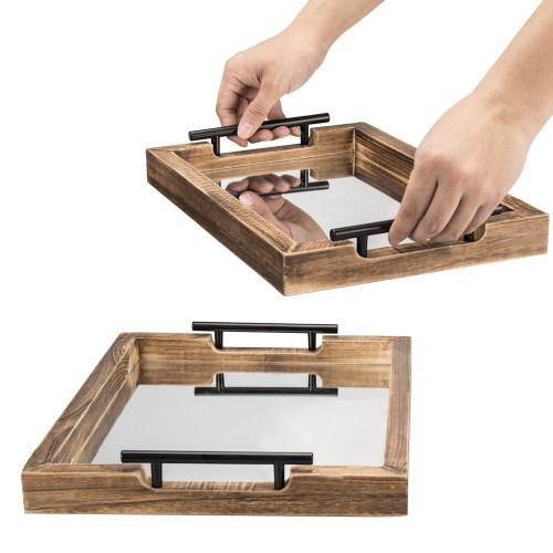 Dark Brown Wood Mirrored Vanity Trays with Metal Handles, Set of 2 - MyGift