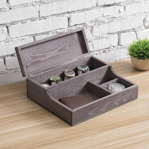 Dark Brown Wood Watch Case & Dresser Valet Tray