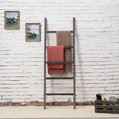 Dark Gray Rustic Barnwood Wall-Leaning Towel Ladder