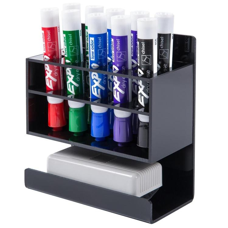 Wall-Mounted 2-Tier Acrylic 10-Slot Dry Erase Marker and Eraser Holder Stand - MyGift Enterprise LLC