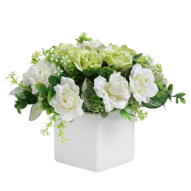 Faux Ivory Rose Floral Arrangement in White Ceramic Vase - MyGift