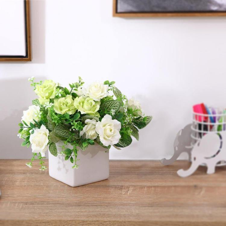 Faux Ivory Rose Floral Arrangement in White Ceramic Vase