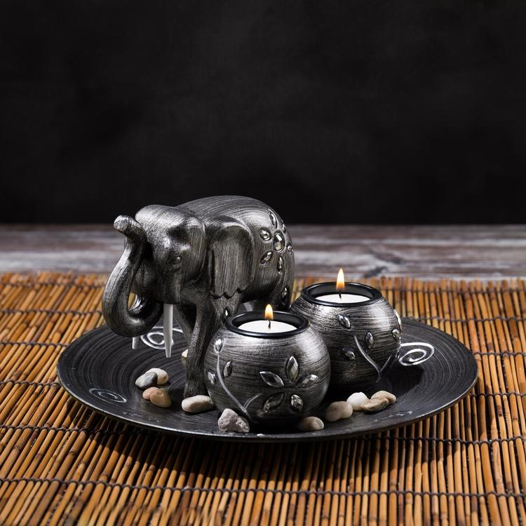 Decorative Gunmetal Grey Elephant & Tealight Candle Holder