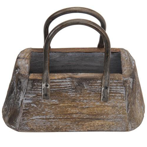 Decorative Handbag-Shaped Vintage Brown Wood Flower Pot - MyGift