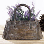 Decorative Handbag-Shaped Vintage Brown Wood Flower Pot
