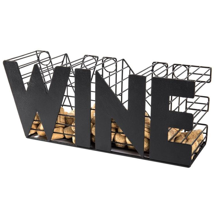 14-Inch Decorative Metal Mesh WINE Cork Holder Basket, Black - MyGift Enterprise LLC