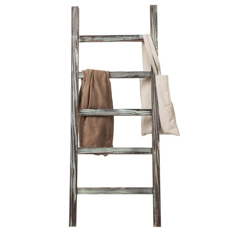 4-Foot Decorative Rustic Barnwood 5-Rung Blanket Ladder Hanging Towel Rack - MyGift Enterprise LLC