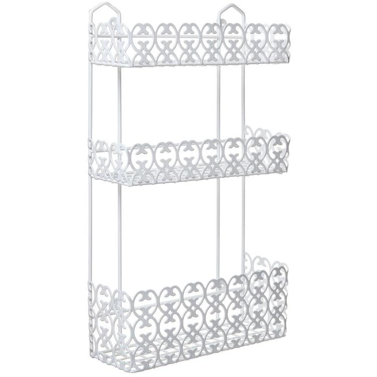Decorative White Wall Mounted 3 Tier Shelf Baskets - MyGift Enterprise LLC