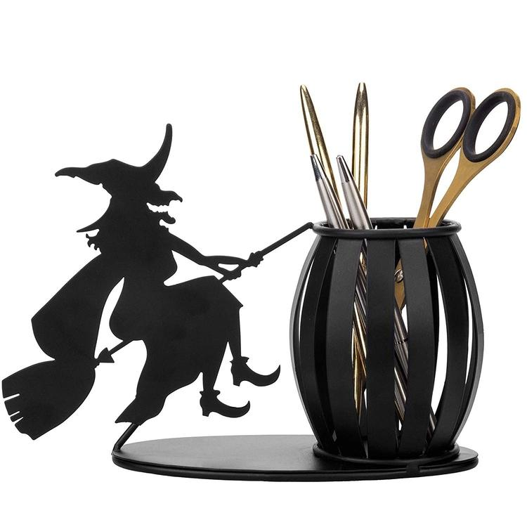 Decorative Witch on Broomstick Metal Pen / Pencil Holder