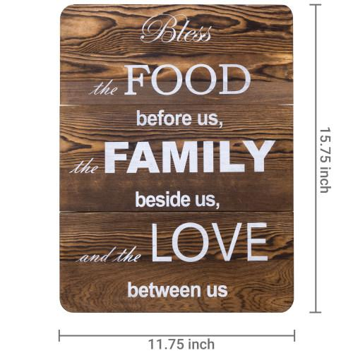 "Decorative Wood Plaque ""Bless The Food Family Love"""