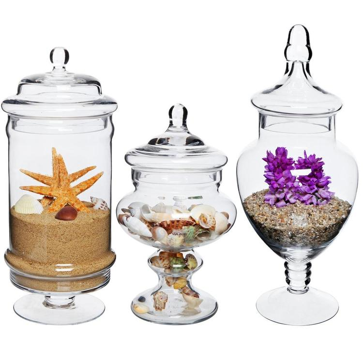 Deluxe Glass Apothecary / Kitchen Storage Jars, Set of 3 - MyGift Enterprise LLC