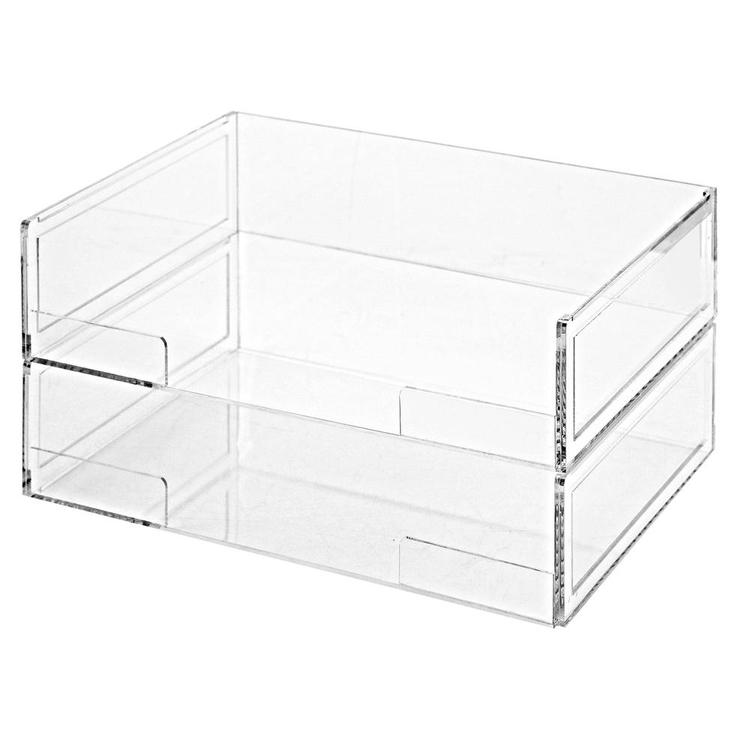 Deluxe Stacking Clear Acrylic Desktop Document Paper Trays, Set of 2 - MyGift Enterprise LLC