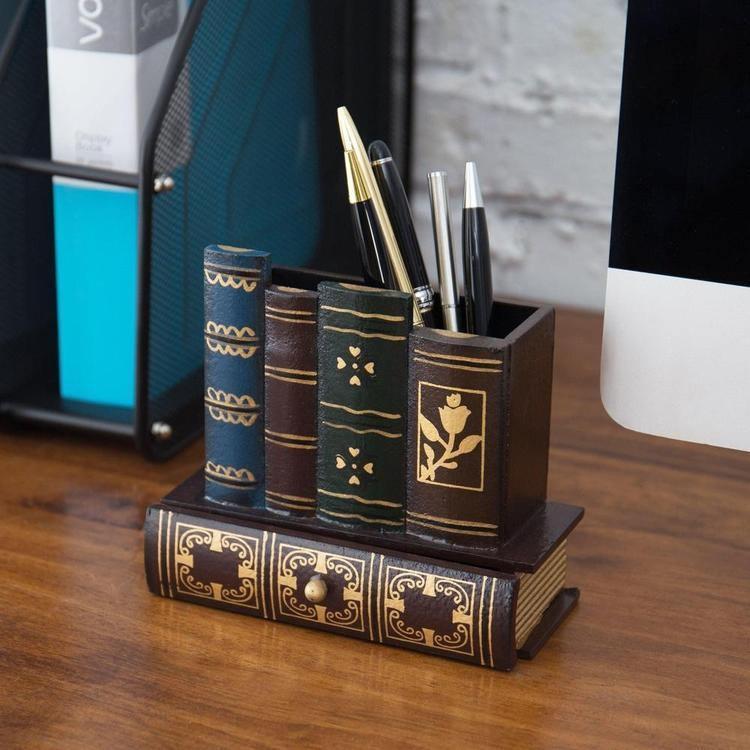 Decorative Library Books Design Wooden Office Supply Caddy with Bottom Drawer - MyGift Enterprise LLC