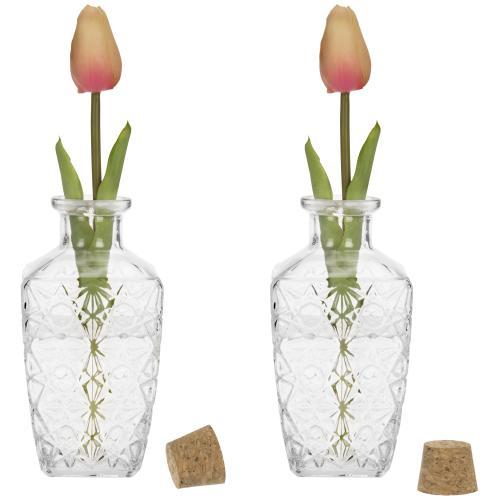 Diamond-Faceted Diffuser Bottles with Corked Lids, Set of 2