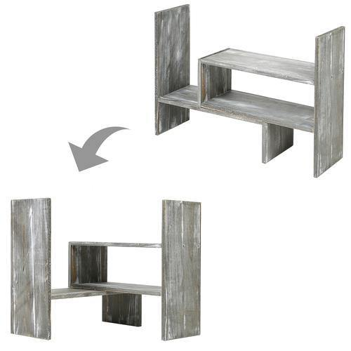 Distressed Gray Wood Adjustable Desktop Bookshelves - MyGift