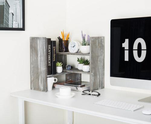 Distressed Gray Wood Adjustable Desktop Bookshelves