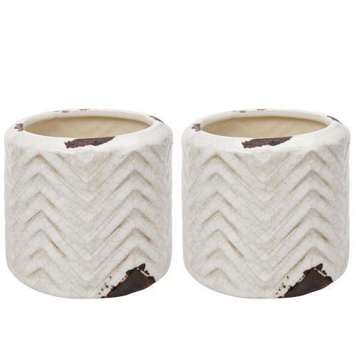 Distressed White Ceramic Planter Pots with Embossed Chevron Design, Set of 2 - MyGift