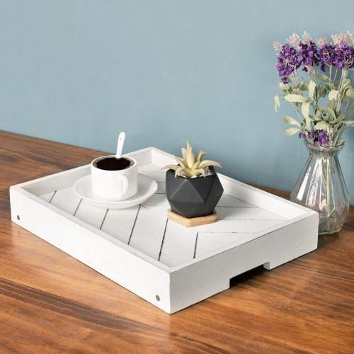Distressed White Wood Breakfast Tray with Foldable Legs - MyGift