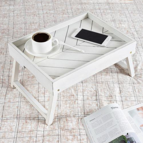 Distressed White Wood Breakfast Tray with Foldable Legs