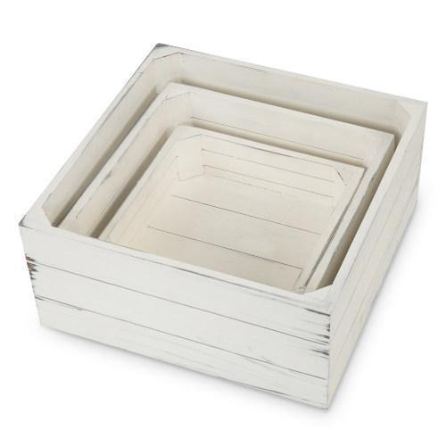 MyGift Vintage Distressed White Wood Nesting Storage Crate Display Riser Stands Set of 3