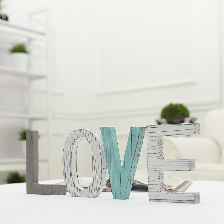 Distressed Wood Block LOVE Sign, Decorative Cutout Letters - MyGift Enterprise LLC