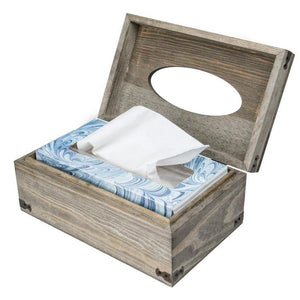 Distressed Wood Tissue Box Holder with Hinged Lid - MyGift