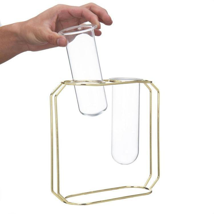 Dual Glass Tube Vases on Gold-Tone Metal Stand - MyGift