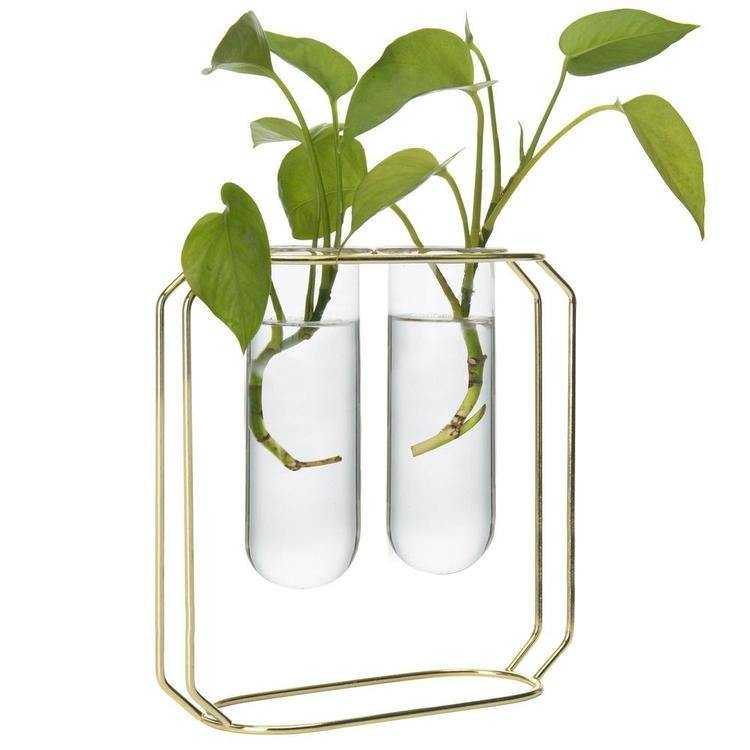 Dual Glass Tube Vases on Gold-Tone Metal Stand