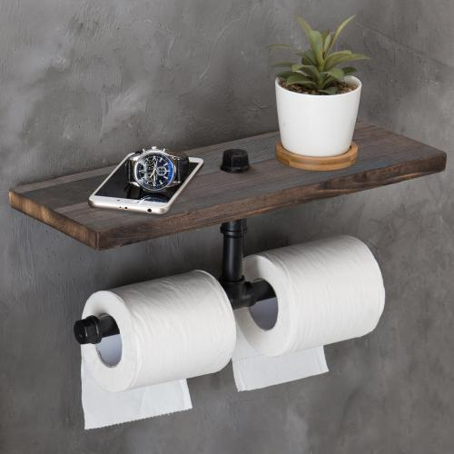 Dual-Pipe Toilet Paper Holder with Vintage Brown Wood Shelf