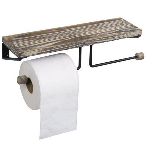 Dual-Roll Torched Wood & Black Metal Toilet Paper Holder with Shelf