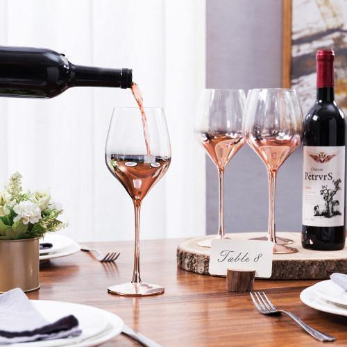 Electroplated Crystal Rose Gold Wine Glasses, Set of 4 - MyGift