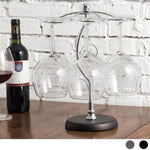Elegant 6 Hook Silver Chrome Tone Metal Wine Glass Holder Stand Stemware Rack