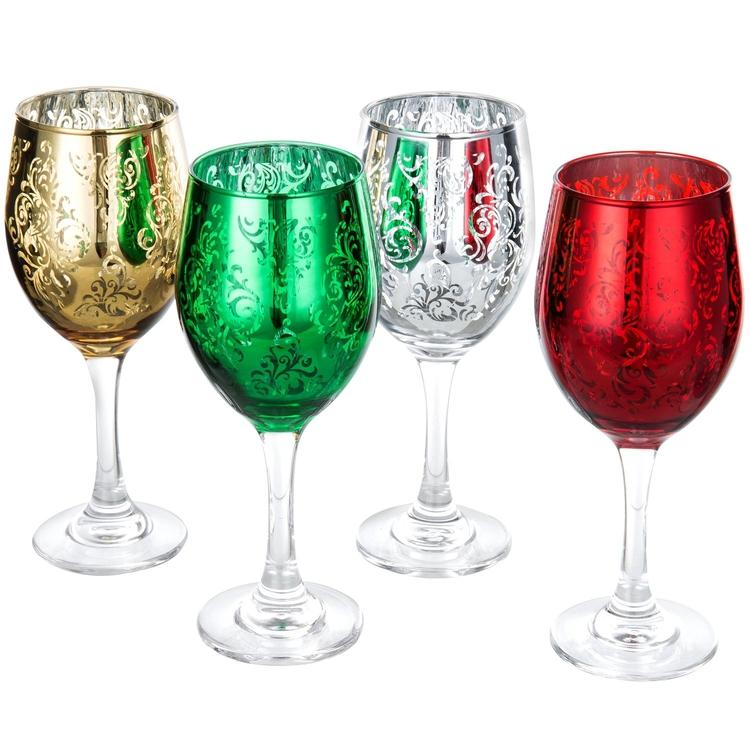 Etched Glass Holiday Wine Glasses, Set of 4