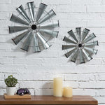 Farmhouse Galvanized Metal Windmill Wall Sculptures