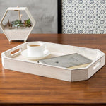 Rustic Whitewashed Wood Serving Tray with Cut-out Handles and Angled Edges - MyGift Enterprise LLC