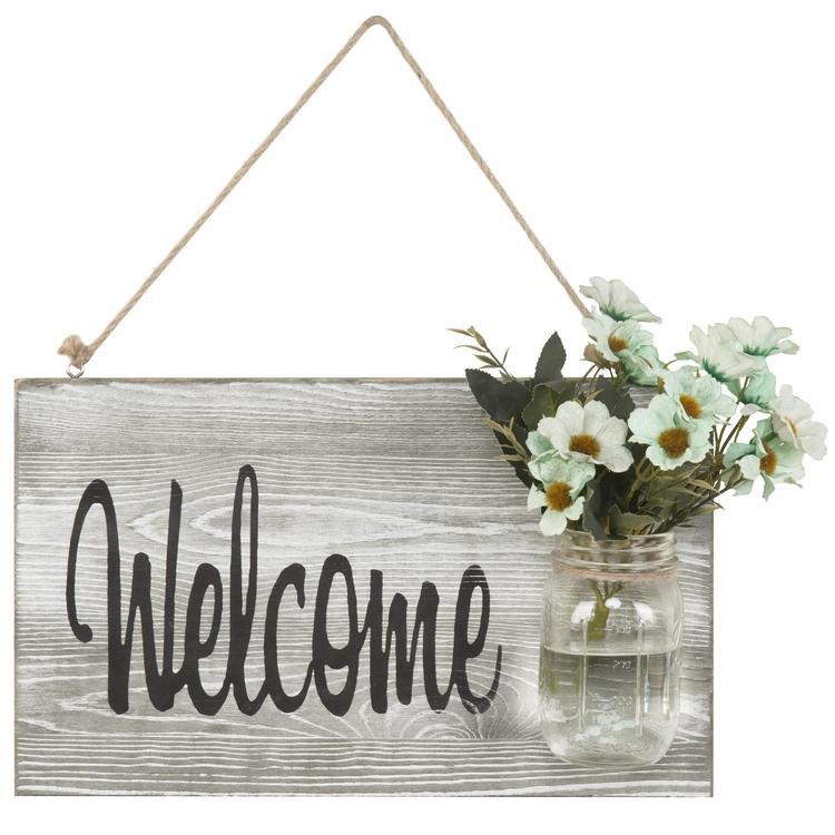 Farmhouse Style Welcome Sign with Glass Jar