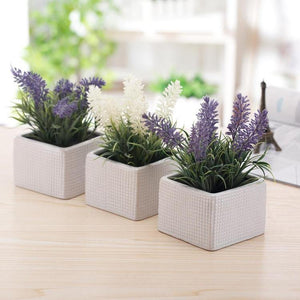 Faux Lavender Plants in White Ceramic Pots, Set of 3 - MyGift