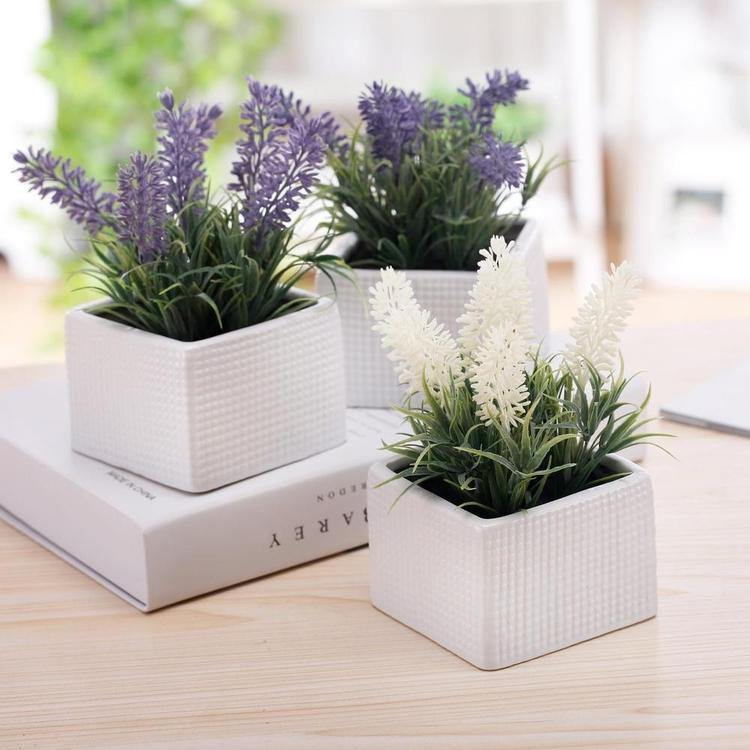 Faux Lavender Plants in White Ceramic Pots, Set of 3