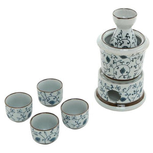 Floral Design Japanese Sake Set