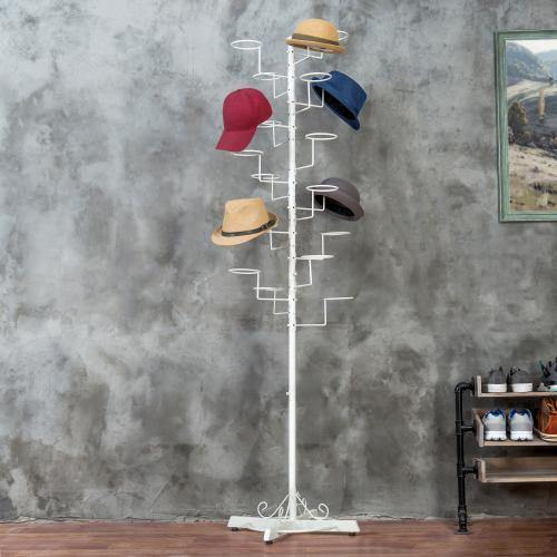 Freestanding Display Stand with 20 Circular Hooks for Hats and Wigs - MyGift