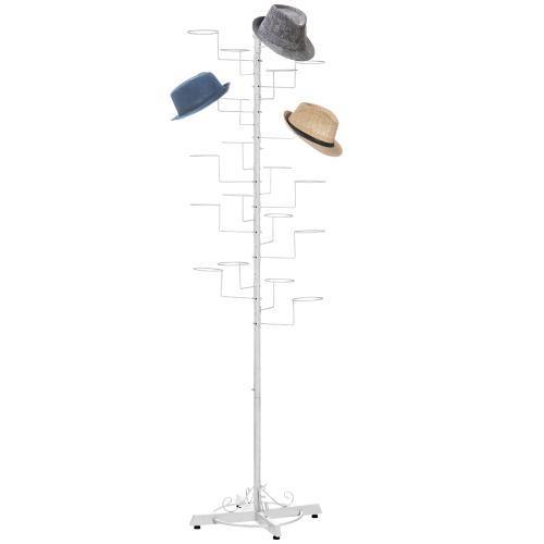 Freestanding Display Stand with 20 Circular Hooks for Hats and Wigs