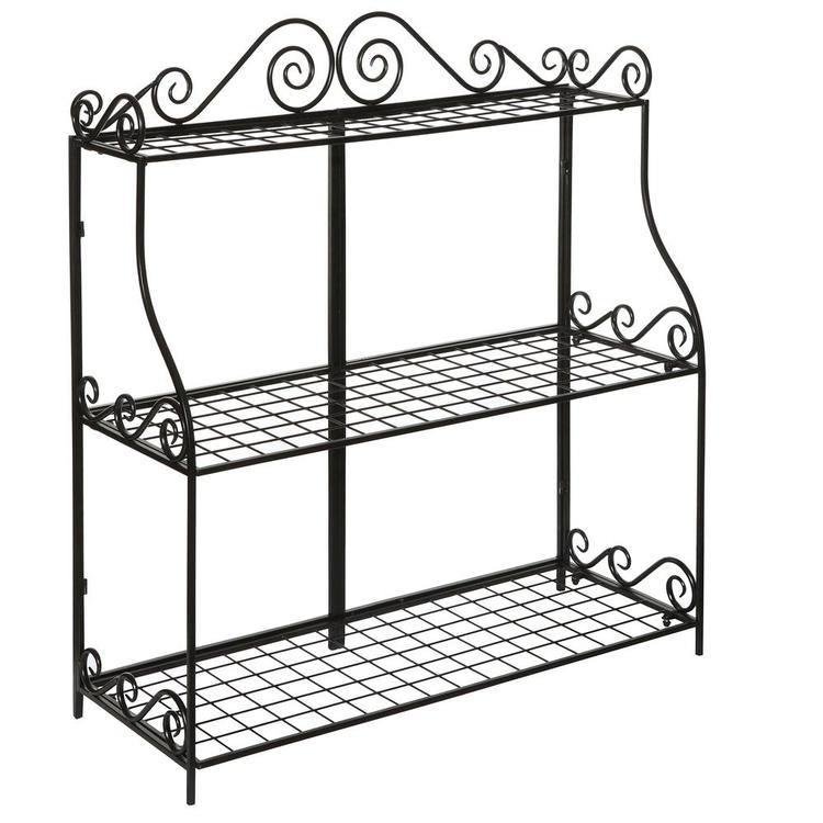 Freestanding Metal Scrollwork 3 Tier Bathroom & Kitchen Storage Rack, Black - MyGift Enterprise LLC