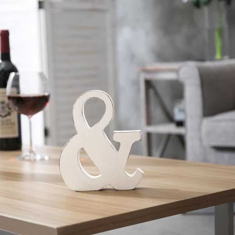 Vintage White Wood Ampersand Wall Decor / Freestanding Monogram - MyGift Enterprise LLC