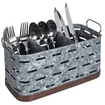 Galvanized and Copper Metal Kitchen Utensil Basket