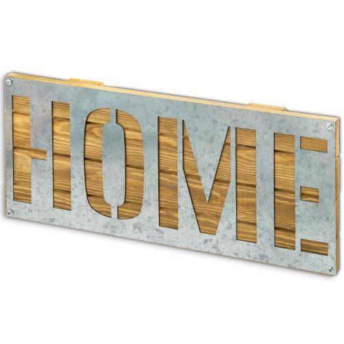 Galvanized Metal & Brown Wood HOME Wall Decor