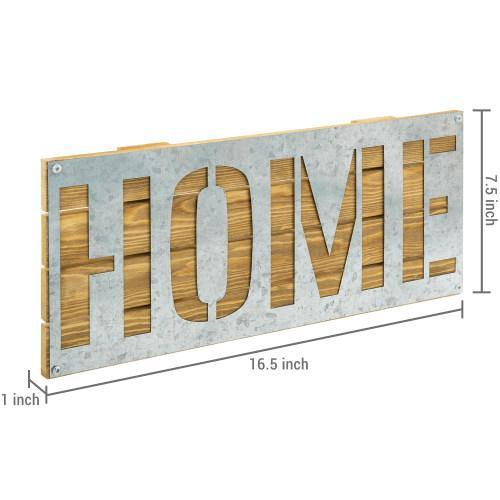 Galvanized Metal & Brown Wood HOME Wall Decor - MyGift