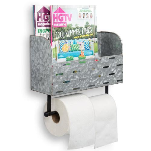 Galvanized Metal Double Roll Toilet Paper Rack with Magazine Basket